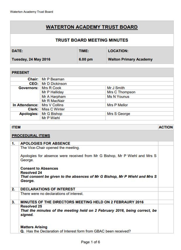 Trust Board Minutes May 2016